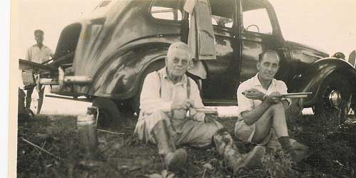 "Leonard Zorab with a friend, ""George"", on a hunting trip in 1946"